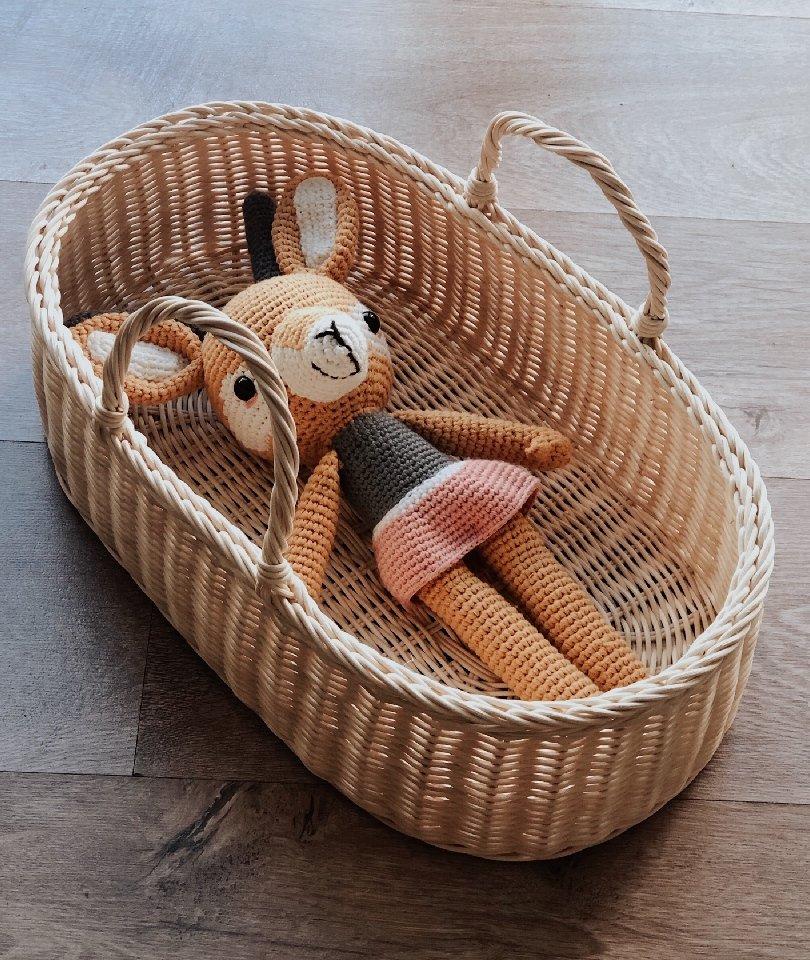 Hasır Oyuncak Bebek Sepeti