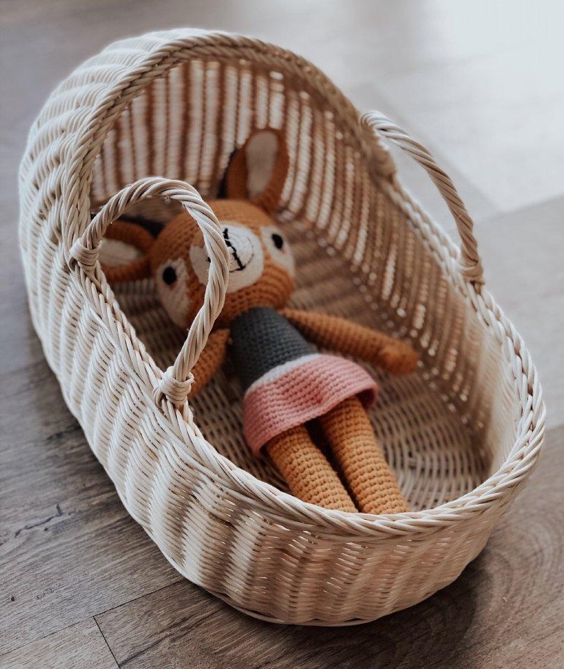 Hasır Oyuncak Bebek Sepeti - Tenteli