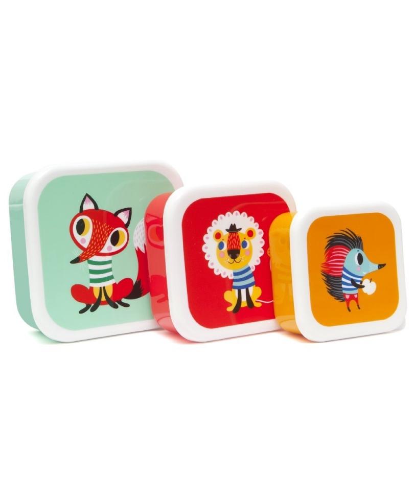 Petit Monkey 3'lü Atıştırma/Saklama Kabı - Hayvan Dostlar