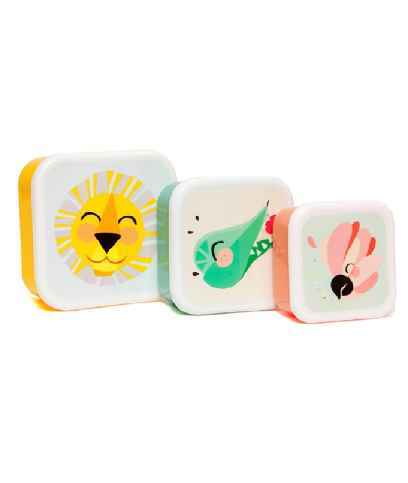 Petit Monkey 3'lü Atıştırma/Saklama Kabı - Shiny Leon