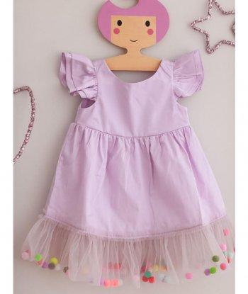 Pompom Dress Lilac