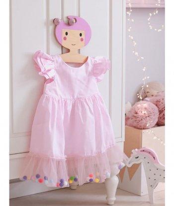 Pompom Dress Pink Candy