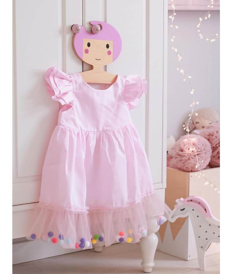 Pompom Dress Pink Candy 0