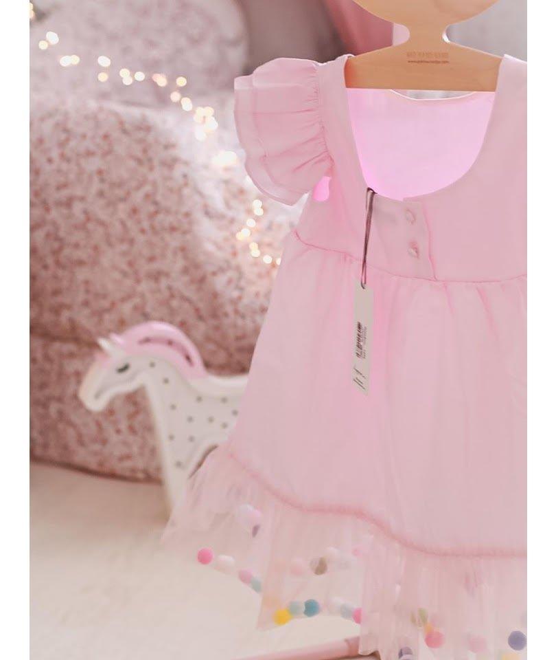 Pompom Dress Pink Candy 1
