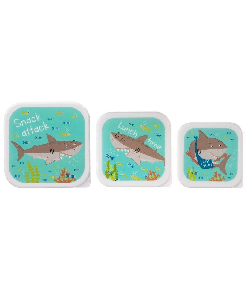 Sass&Belle 3'lü Atıştırma/Saklama Kabı - Shark 2