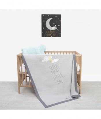 Baby Tales Yazılı Bebek Yatak Örtüsü Gri